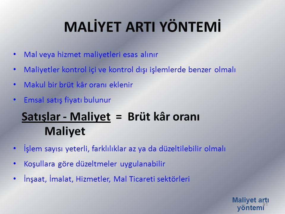 MALİYET ARTI YÖNTEMİ Satışlar - Maliyet = Brüt kâr oranı Maliyet