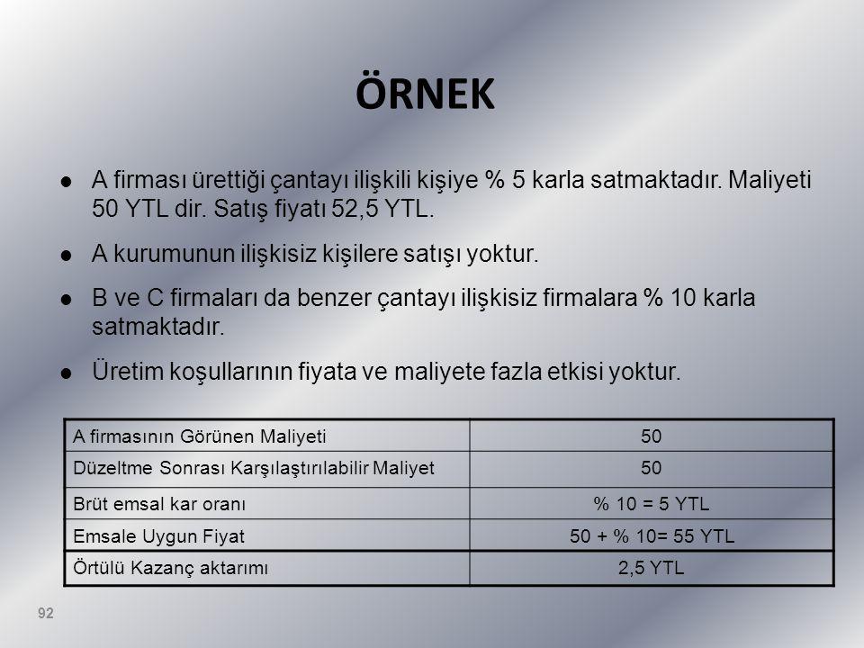 ÖRNEK A firması ürettiği çantayı ilişkili kişiye % 5 karla satmaktadır. Maliyeti 50 YTL dir. Satış fiyatı 52,5 YTL.