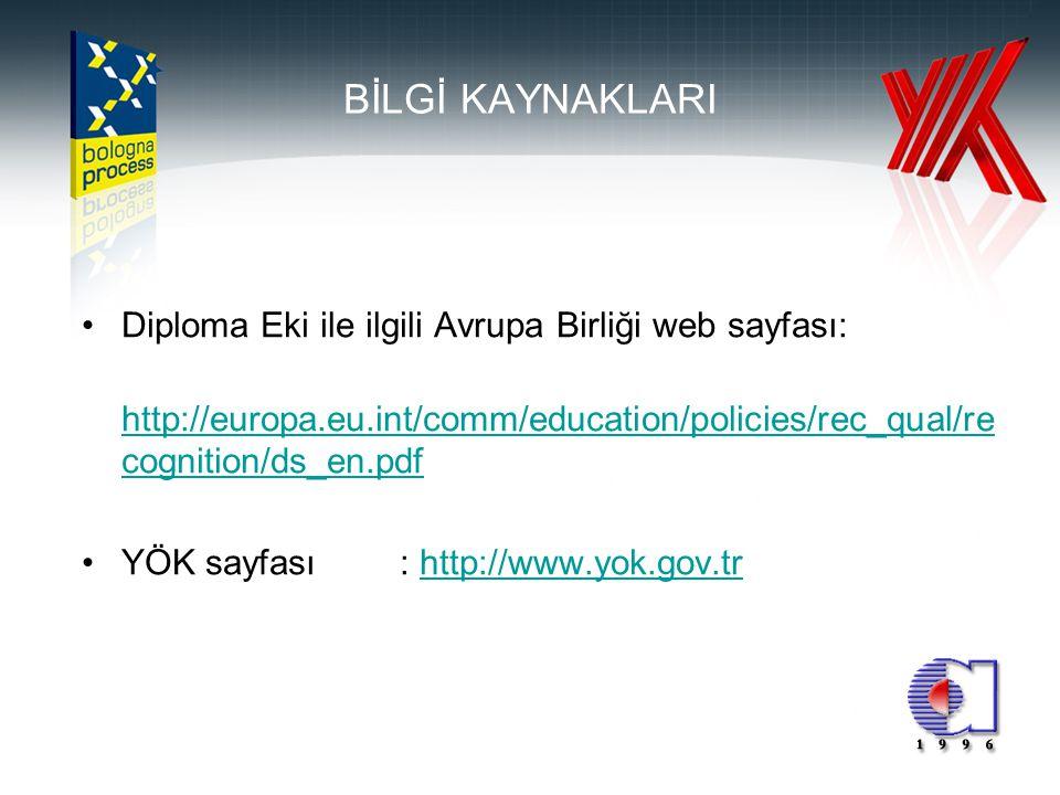 BİLGİ KAYNAKLARI Diploma Eki ile ilgili Avrupa Birliği web sayfası: