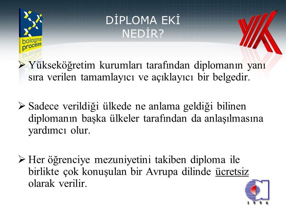 DİPLOMA EKİ NEDİR Yükseköğretim kurumları tarafından diplomanın yanı sıra verilen tamamlayıcı ve açıklayıcı bir belgedir.