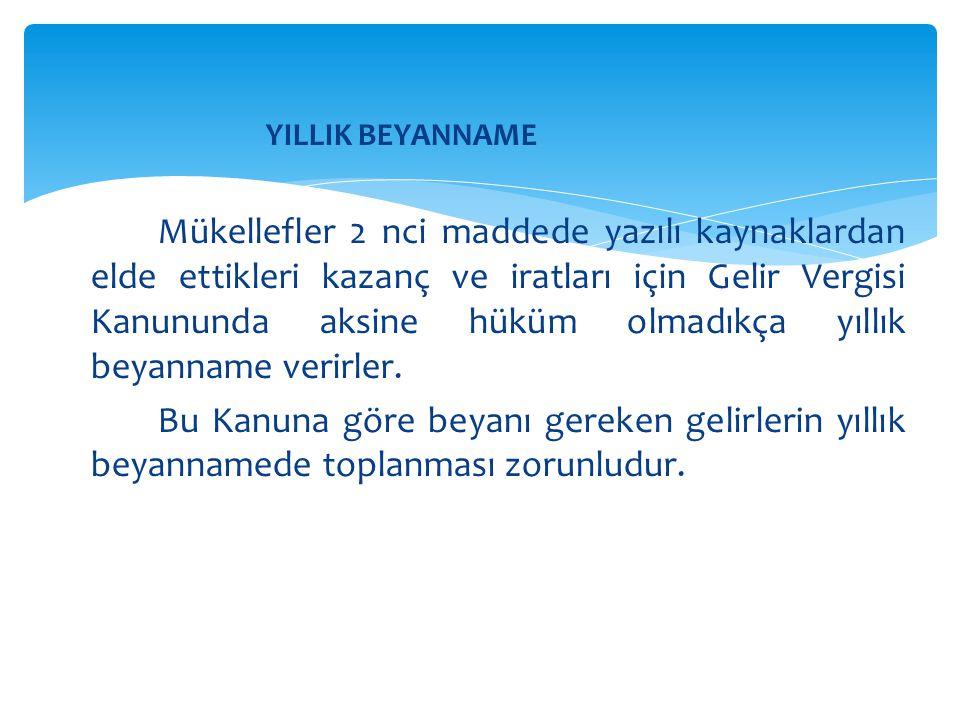 YILLIK BEYANNAME