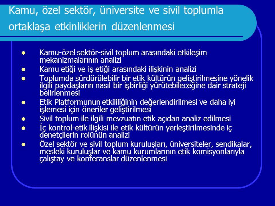 Kamu, özel sektör, üniversite ve sivil toplumla ortaklaşa etkinliklerin düzenlenmesi
