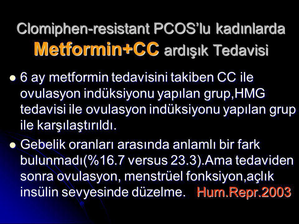 Clomiphen-resistant PCOS'lu kadınlarda Metformin+CC ardışık Tedavisi