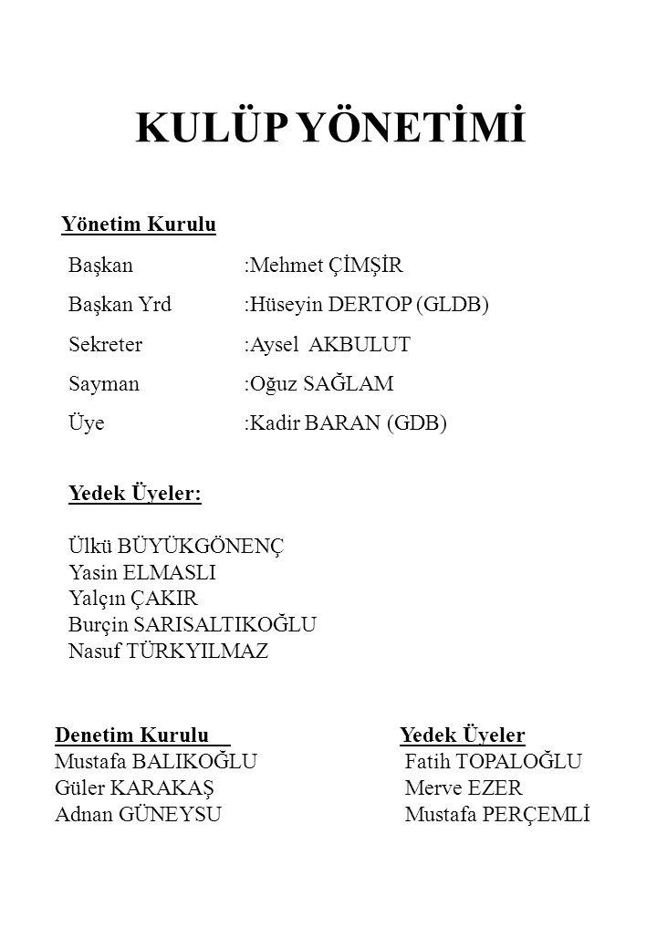 KULÜP YÖNETİMİ Yönetim Kurulu Başkan :Mehmet ÇİMŞİR