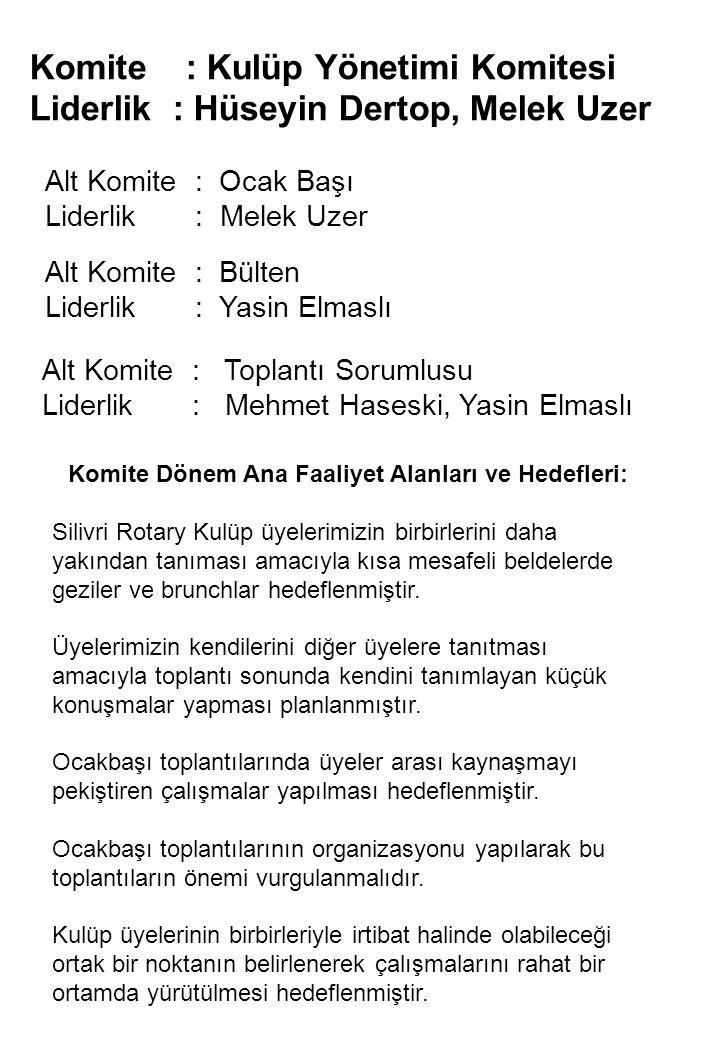 Komite : Kulüp Yönetimi Komitesi Liderlik : Hüseyin Dertop, Melek Uzer