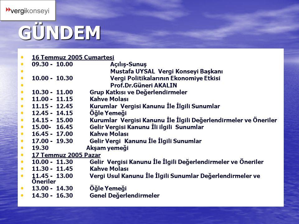 GÜNDEM 16 Temmuz 2005 Cumartesi 09.30 - 10.00 Açılış-Sunuş