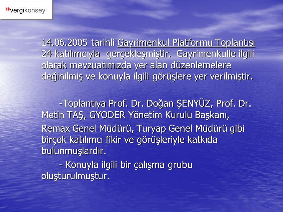 14.06.2005 tarihli Gayrimenkul Platformu Toplantısı 24 katılımcıyla gerçekleşmiştir. Gayrimenkulle ilgili olarak mevzuatımızda yer alan düzenlemelere değinilmiş ve konuyla ilgili görüşlere yer verilmiştir.