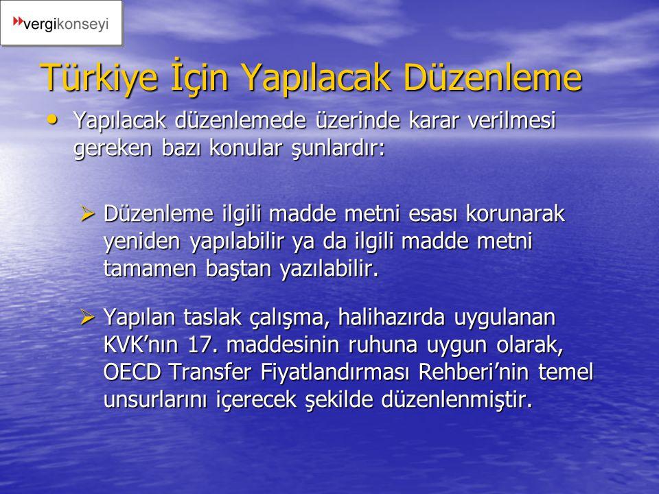 Türkiye İçin Yapılacak Düzenleme