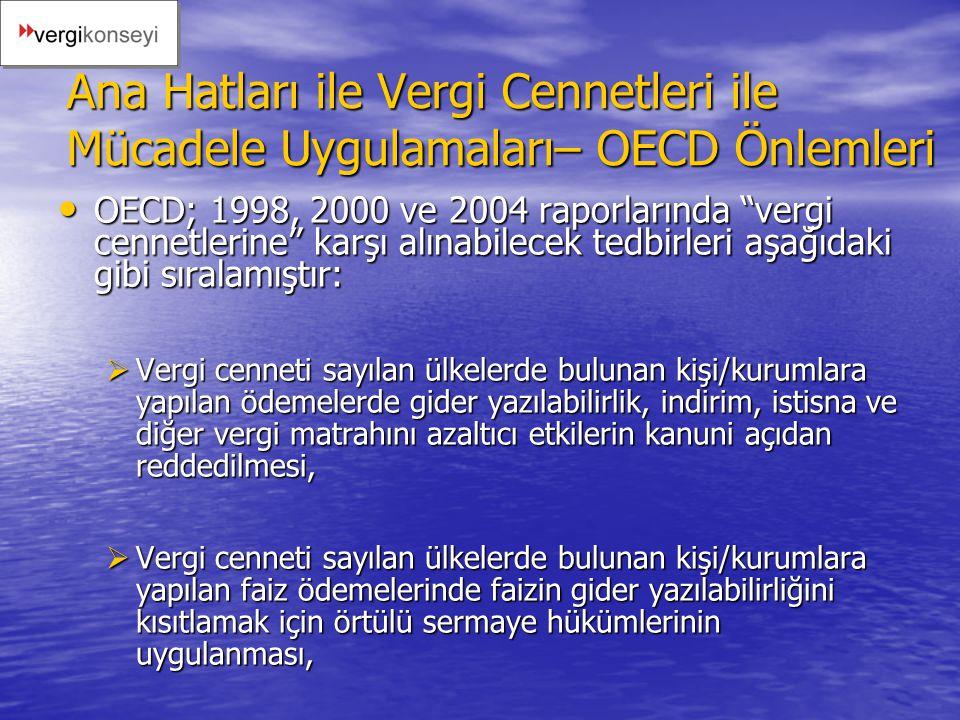 Ana Hatları ile Vergi Cennetleri ile Mücadele Uygulamaları– OECD Önlemleri