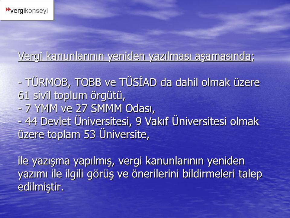 Vergi kanunlarının yeniden yazılması aşamasında; - TÜRMOB, TOBB ve TÜSİAD da dahil olmak üzere 61 sivil toplum örgütü, - 7 YMM ve 27 SMMM Odası, - 44 Devlet Üniversitesi, 9 Vakıf Üniversitesi olmak üzere toplam 53 Üniversite, ile yazışma yapılmış, vergi kanunlarının yeniden yazımı ile ilgili görüş ve önerilerini bildirmeleri talep edilmiştir.