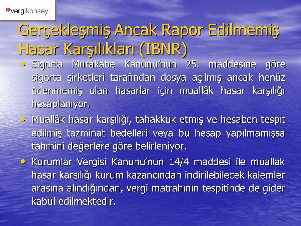 Gerçekleşmiş Ancak Rapor Edilmemiş Hasar Karşılıkları (IBNR)