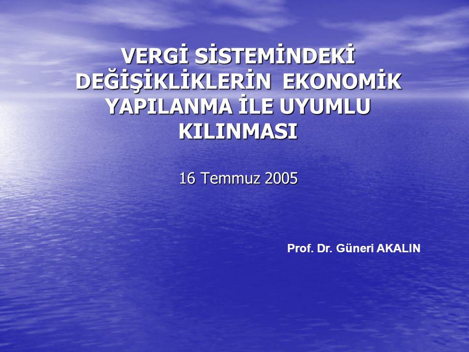 VERGİ SİSTEMİNDEKİ DEĞİŞİKLİKLERİN EKONOMİK YAPILANMA İLE UYUMLU KILINMASI 16 Temmuz 2005