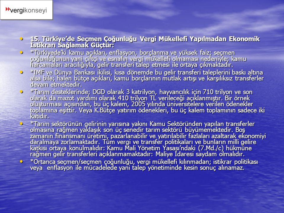 15. Türkiye'de Seçmen Çoğunluğu Vergi Mükellefi Yapılmadan Ekonomik İstikrarı Sağlamak Güçtür: