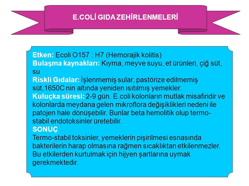 E.COLİ GIDA ZEHİRLENMELERİ