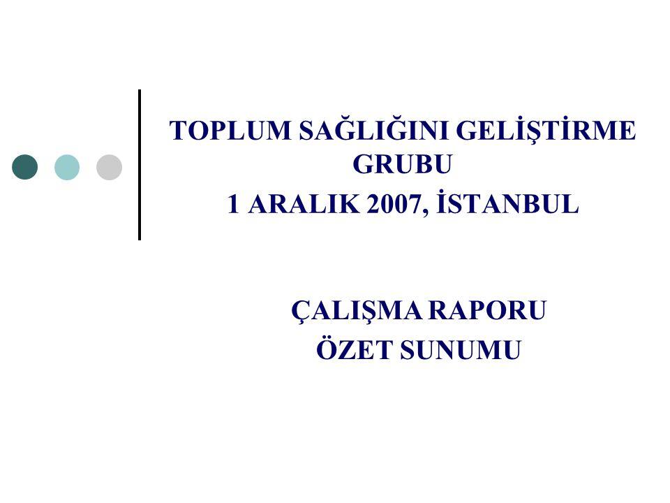 TOPLUM SAĞLIĞINI GELİŞTİRME GRUBU 1 ARALIK 2007, İSTANBUL