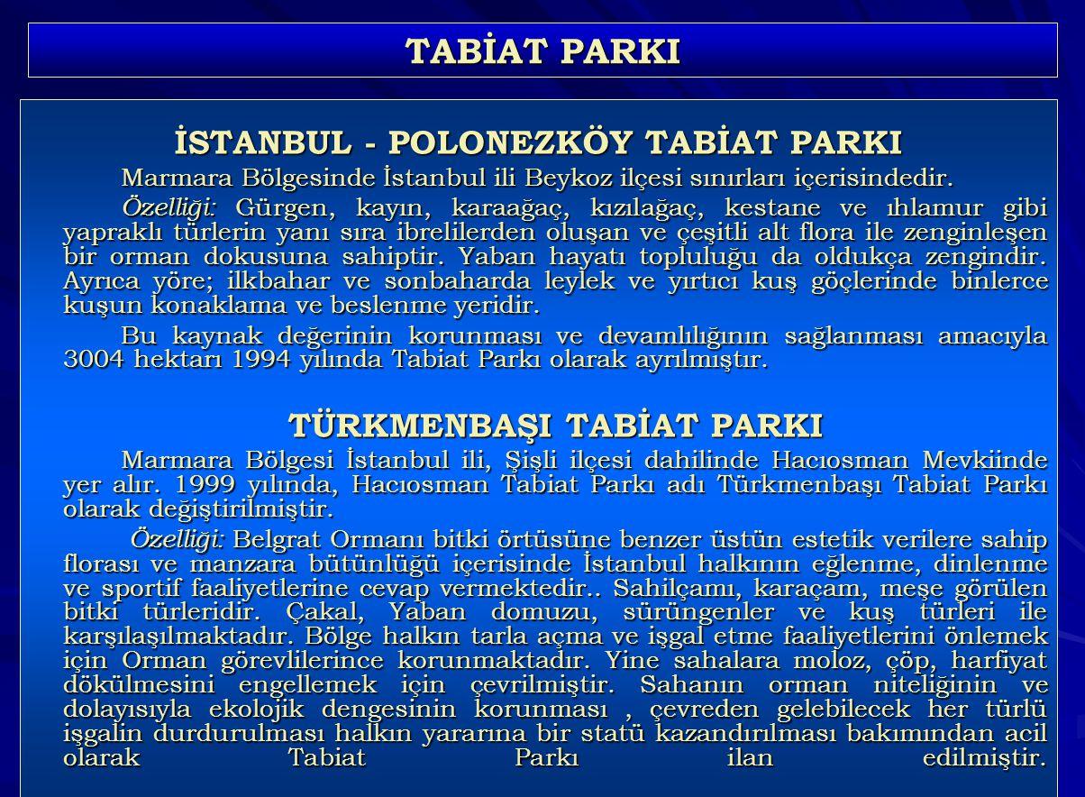 İSTANBUL - POLONEZKÖY TABİAT PARKI TÜRKMENBAŞI TABİAT PARKI