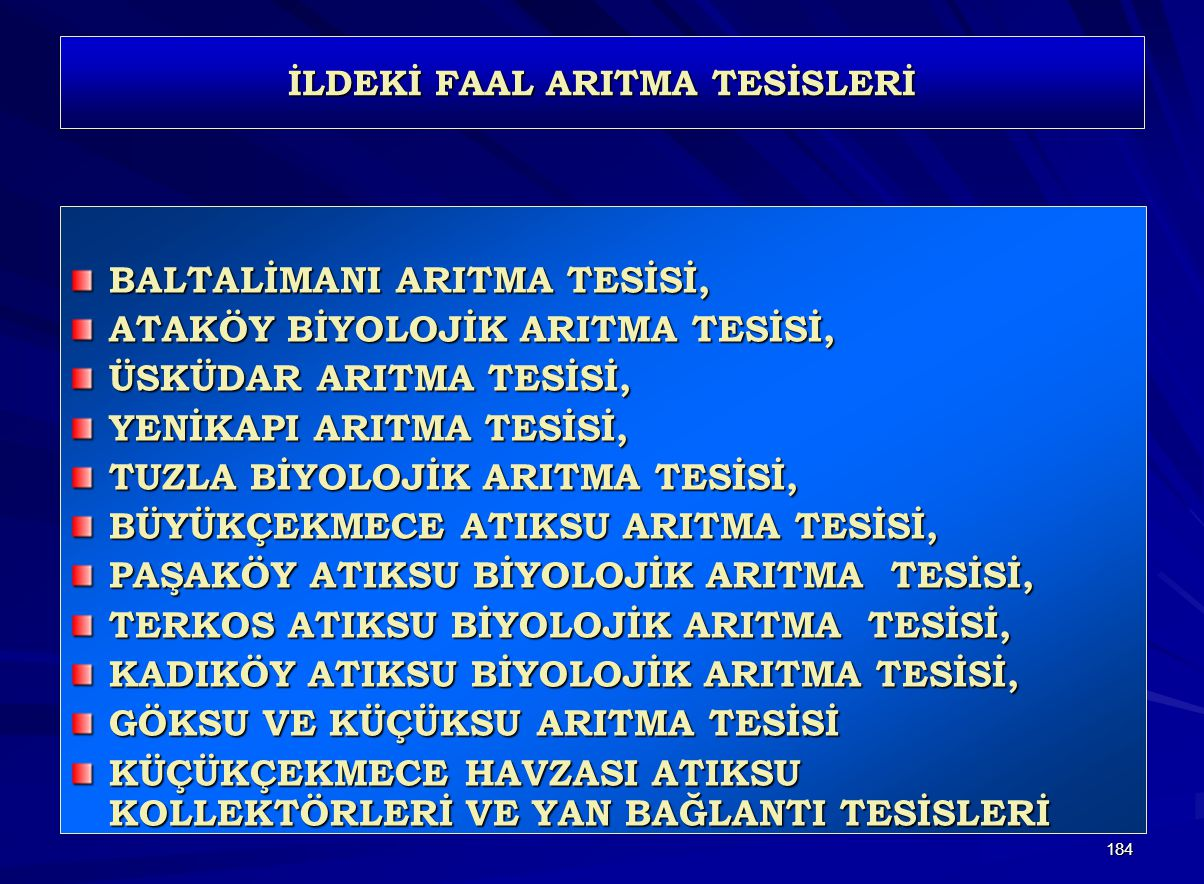 İLDEKİ FAAL ARITMA TESİSLERİ