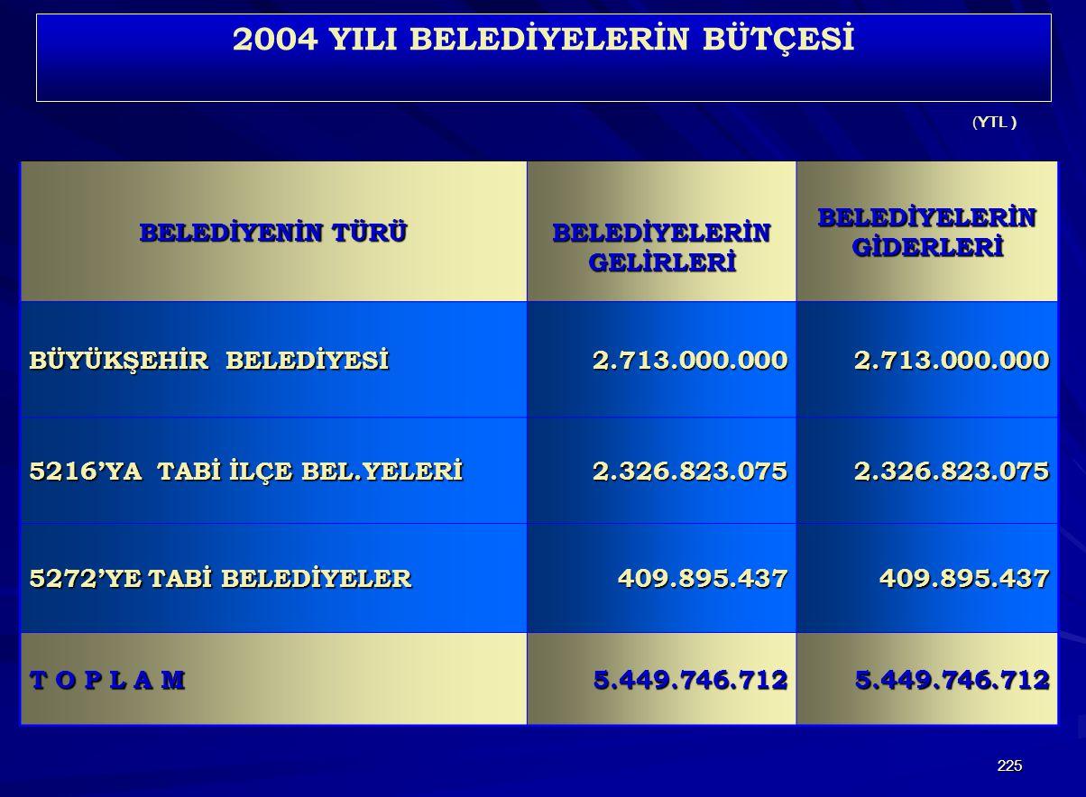 2004 YILI BELEDİYELERİN BÜTÇESİ