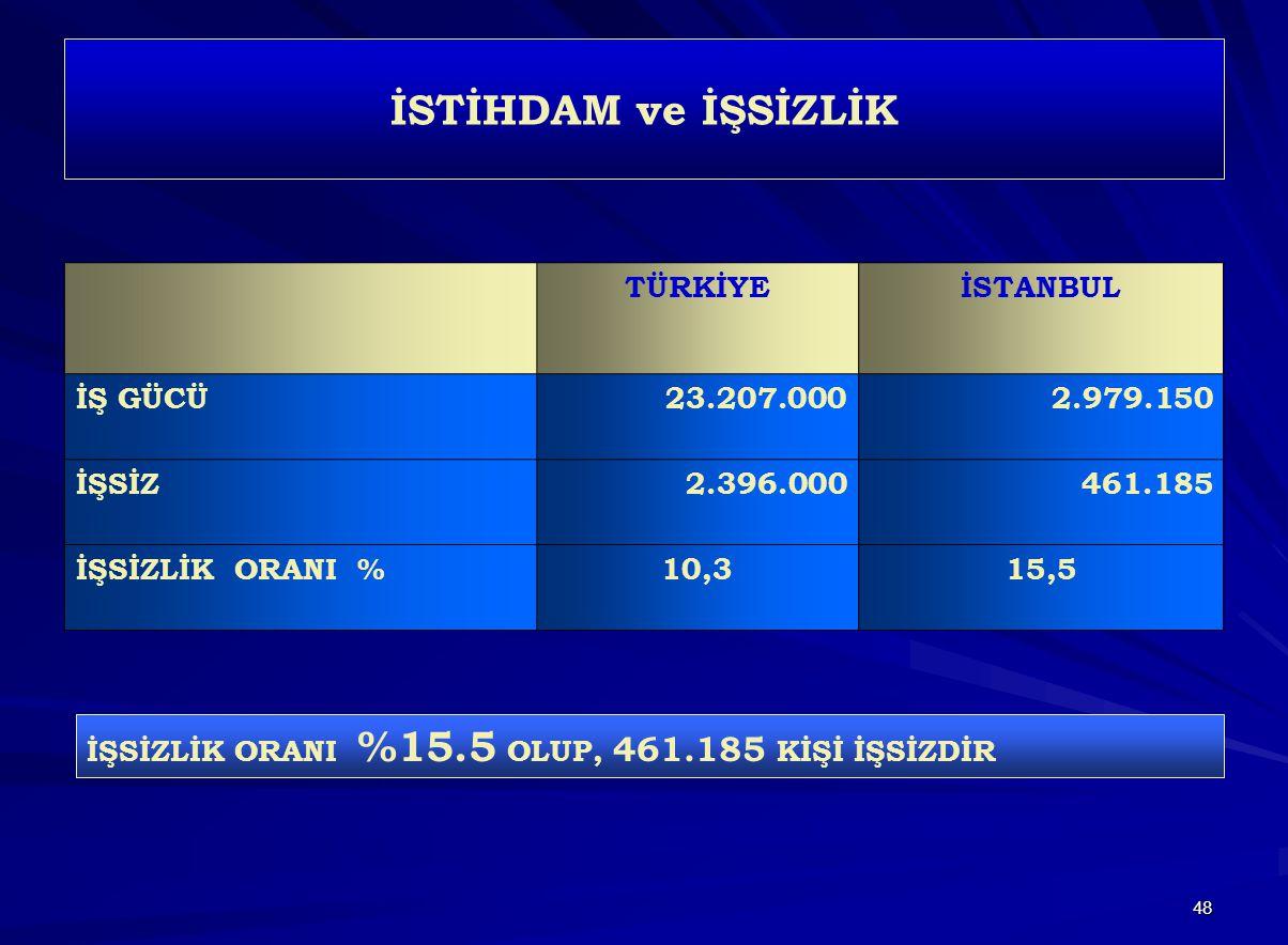 İSTİHDAM ve İŞSİZLİK TÜRKİYE İSTANBUL İŞ GÜCÜ 23.207.000 2.979.150