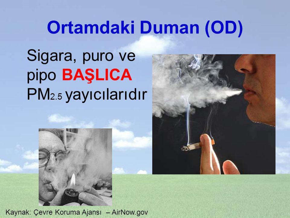 Ortamdaki Duman (OD) Sigara, puro ve pipo BAŞLICA PM2.5 yayıcılarıdır