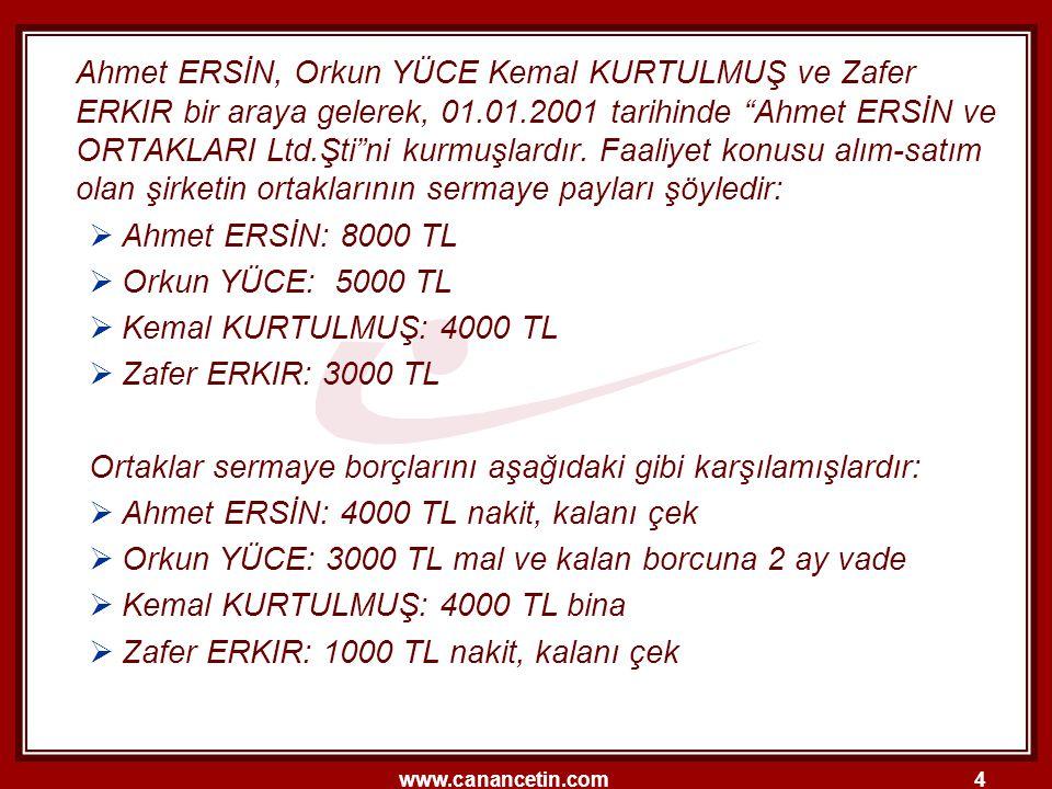 Ahmet ERSİN, Orkun YÜCE Kemal KURTULMUŞ ve Zafer ERKIR bir araya gelerek, 01.01.2001 tarihinde Ahmet ERSİN ve ORTAKLARI Ltd.Şti ni kurmuşlardır. Faaliyet konusu alım-satım olan şirketin ortaklarının sermaye payları şöyledir: