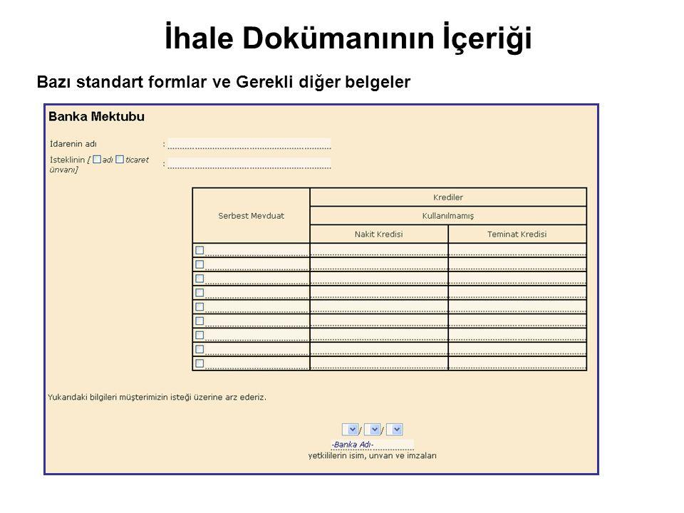 Bazı standart formlar ve Gerekli diğer belgeler