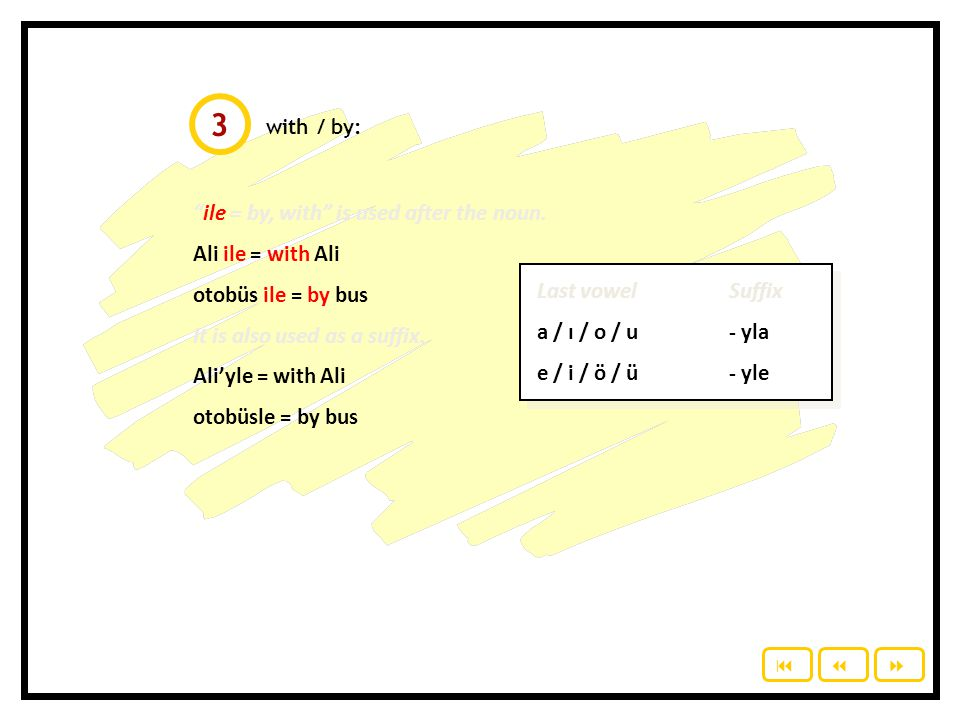 3 ile = by, with is used after the noun. Ali ile = with Ali