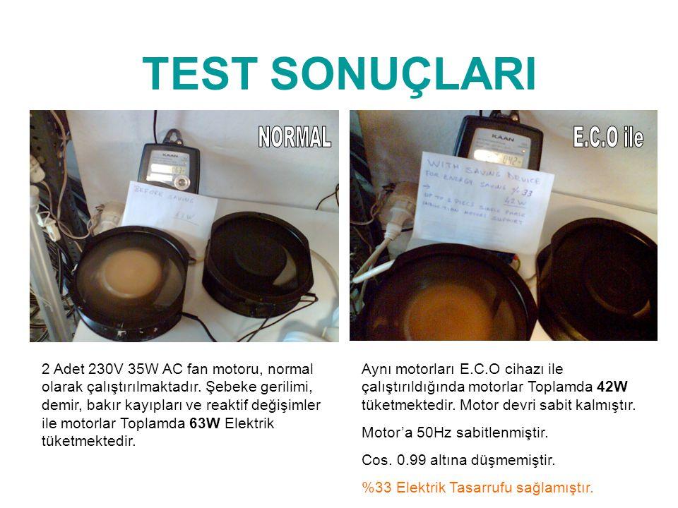 TEST SONUÇLARI NORMAL E.C.O ile