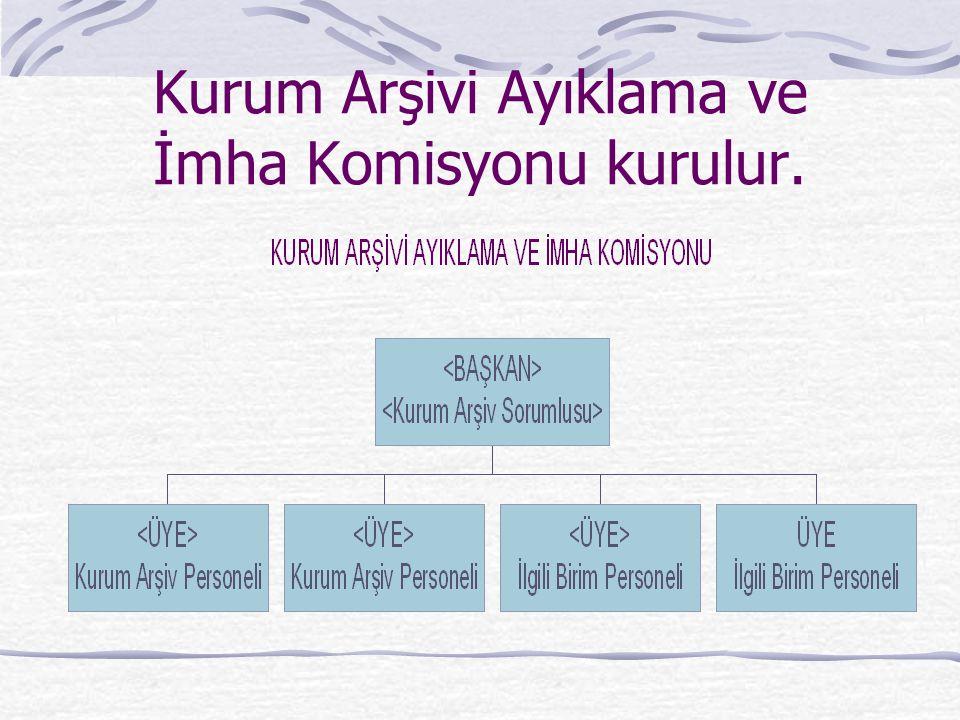 Kurum Arşivi Ayıklama ve İmha Komisyonu kurulur.