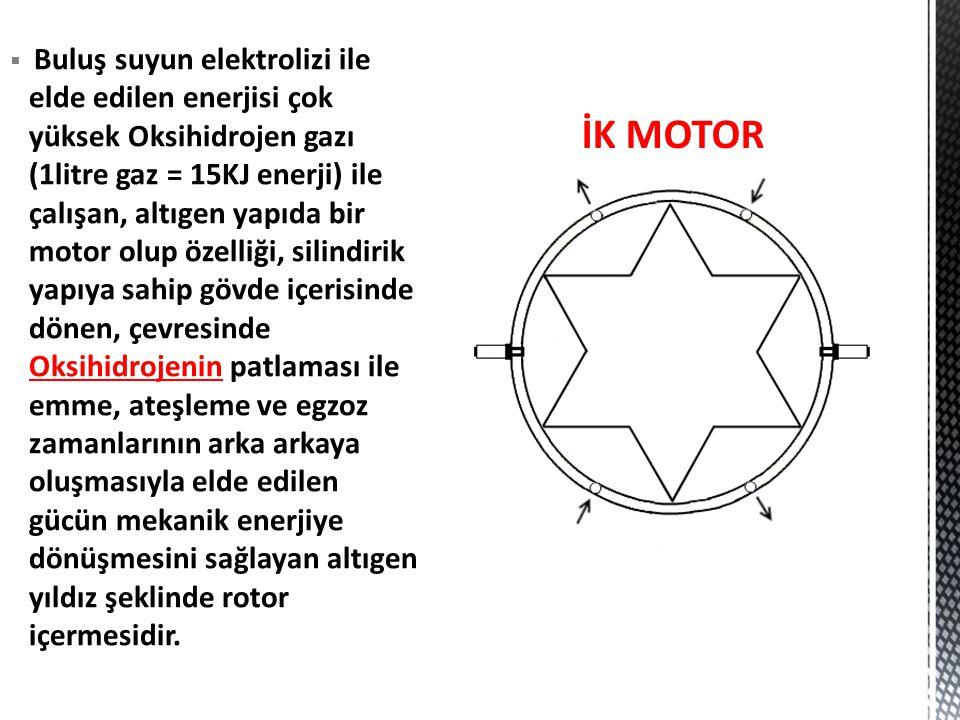 Buluş suyun elektrolizi ile elde edilen enerjisi çok yüksek Oksihidrojen gazı (1litre gaz = 15KJ enerji) ile çalışan, altıgen yapıda bir motor olup özelliği, silindirik yapıya sahip gövde içerisinde dönen, çevresinde Oksihidrojenin patlaması ile emme, ateşleme ve egzoz zamanlarının arka arkaya oluşmasıyla elde edilen gücün mekanik enerjiye dönüşmesini sağlayan altıgen yıldız şeklinde rotor içermesidir.