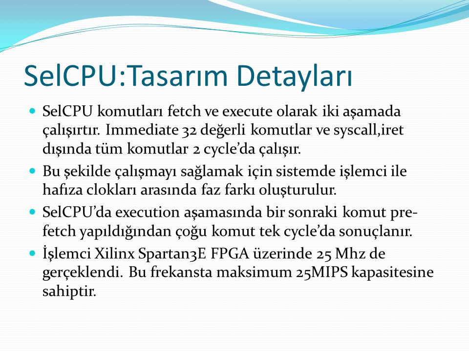 SelCPU:Tasarım Detayları