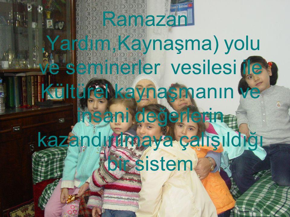 Ramazan ,Yardım,Kaynaşma) yolu ve seminerler vesilesi ile Kültürel kaynaşmanın ve insani değerlerin kazandırılmaya çalışıldığı bir sistem