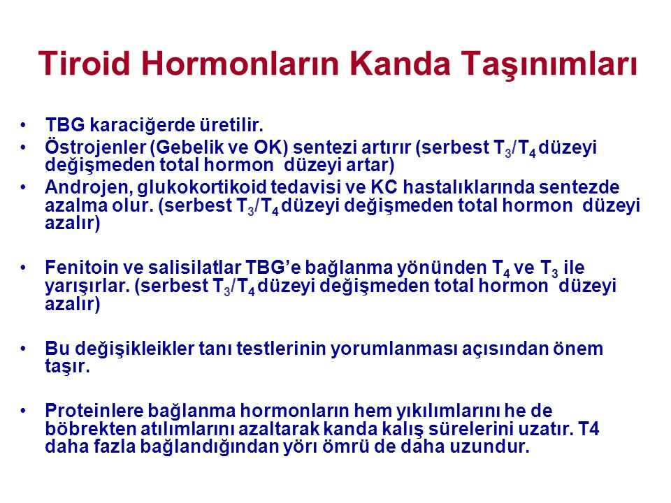 Tiroid Hormonların Kanda Taşınımları