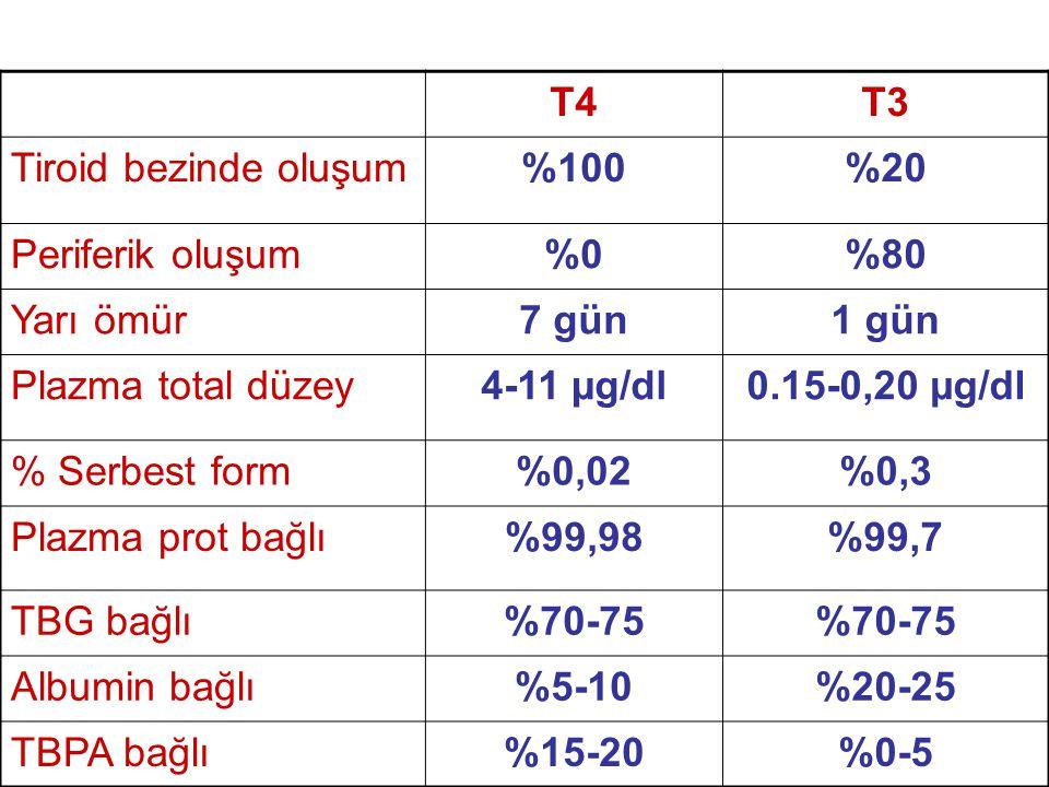 T4 T3. Tiroid bezinde oluşum. %100. %20. Periferik oluşum. %0. %80. Yarı ömür. 7 gün. 1 gün.