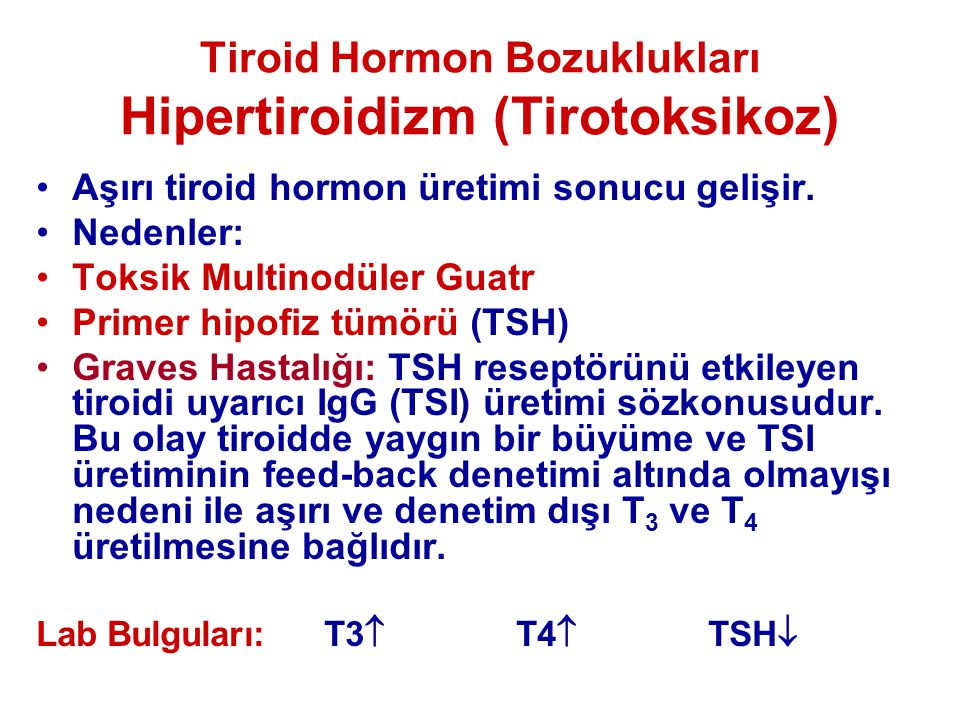 Tiroid Hormon Bozuklukları Hipertiroidizm (Tirotoksikoz)