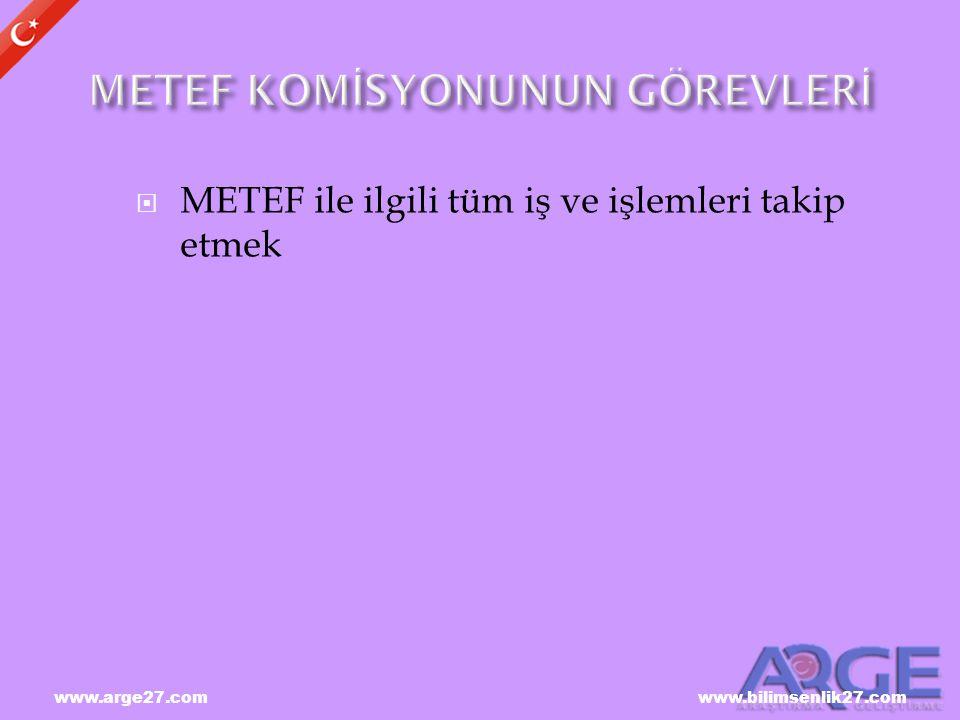 METEF KOMİSYONUNUN GÖREVLERİ