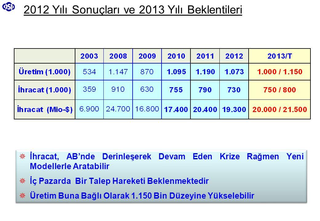 2012 Yılı Sonuçları ve 2013 Yılı Beklentileri