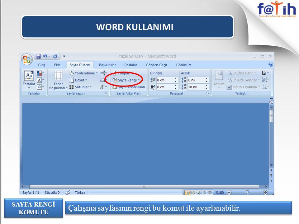WORD KULLANIMI Çalışma sayfasının rengi bu komut ile ayarlanabilir.