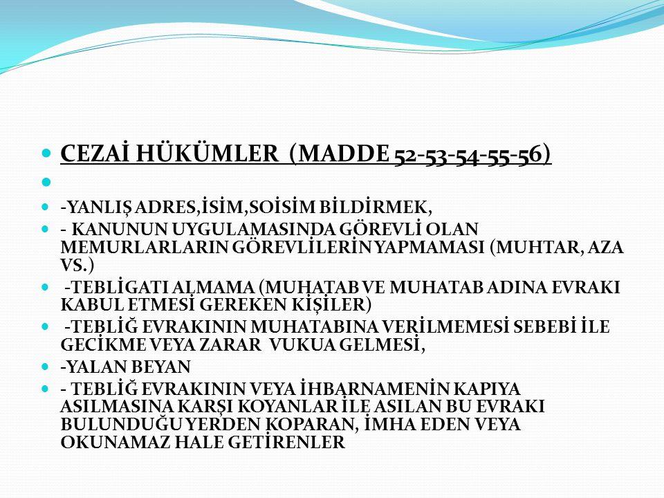 CEZAİ HÜKÜMLER (MADDE 52-53-54-55-56)