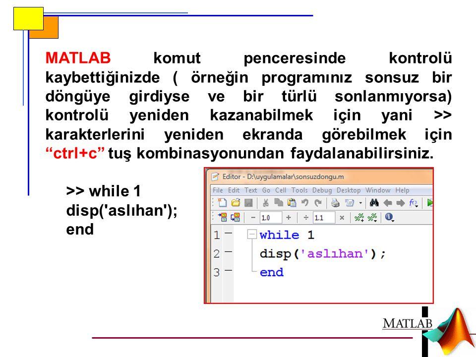 MATLAB komut penceresinde kontrolü kaybettiğinizde ( örneğin programınız sonsuz bir döngüye girdiyse ve bir türlü sonlanmıyorsa) kontrolü yeniden kazanabilmek için yani >> karakterlerini yeniden ekranda görebilmek için ctrl+c tuş kombinasyonundan faydalanabilirsiniz.