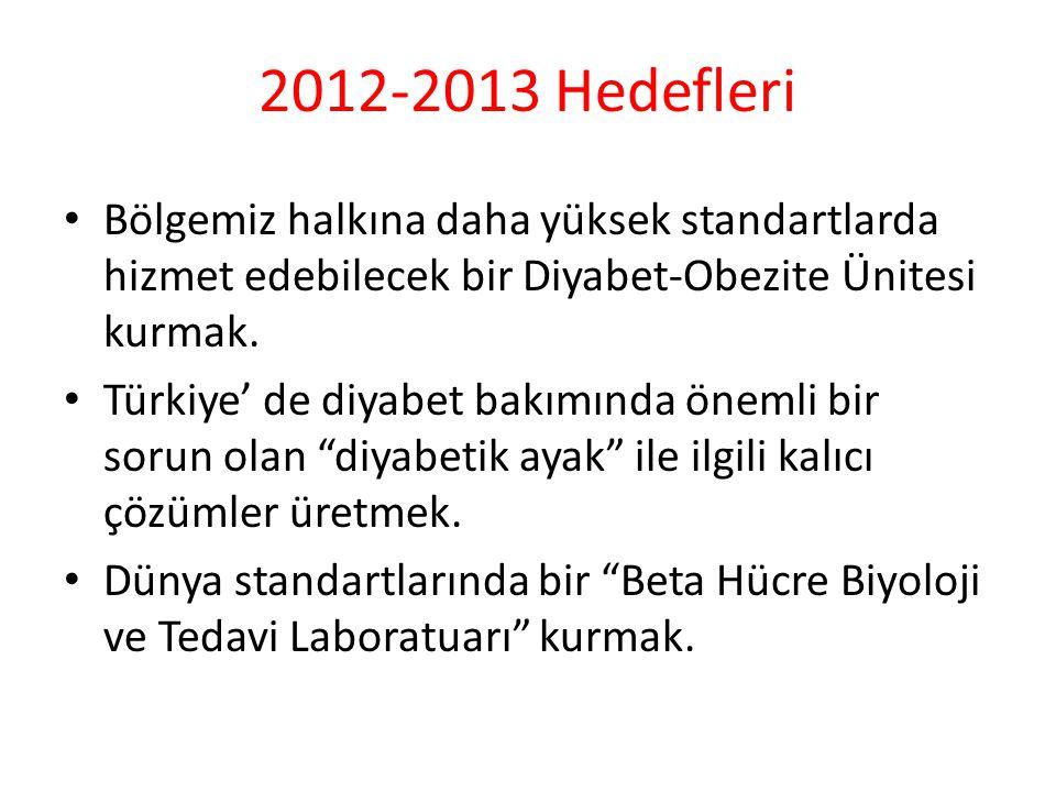 2012-2013 Hedefleri Bölgemiz halkına daha yüksek standartlarda hizmet edebilecek bir Diyabet-Obezite Ünitesi kurmak.