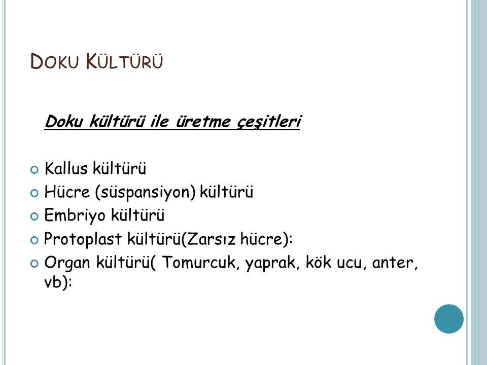 Doku Kültürü Doku kültürü ile üretme çeşitleri Kallus kültürü