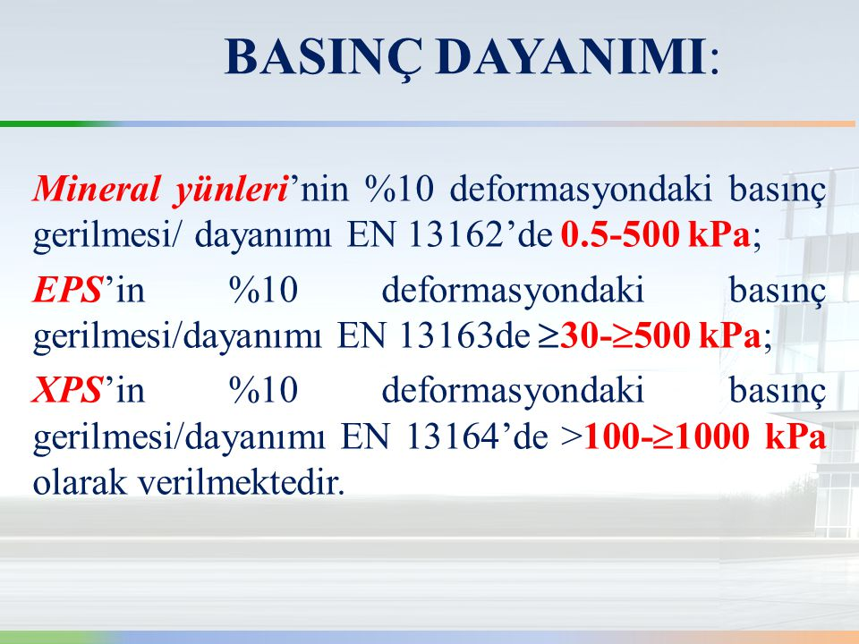 BASINÇ DAYANIMI: Mineral yünleri'nin %10 deformasyondaki basınç gerilmesi/ dayanımı EN 13162'de 0.5-500 kPa;