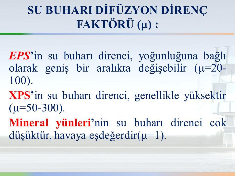 SU BUHARI DİFÜZYON DİRENÇ FAKTÖRÜ () :