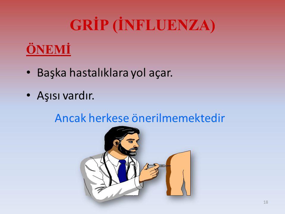 GRİP (İNFLUENZA) ÖNEMİ Başka hastalıklara yol açar. Aşısı vardır.