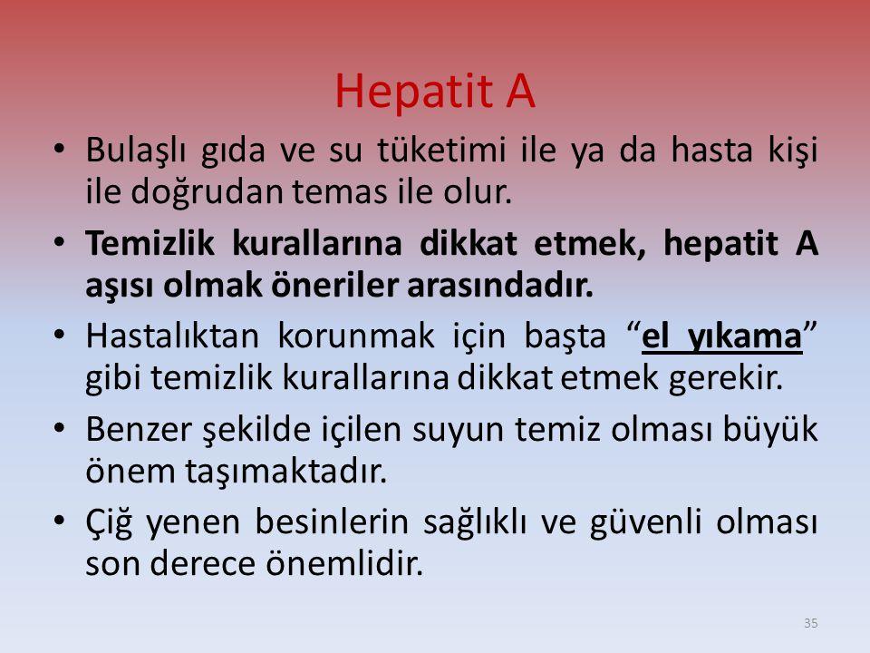 Hepatit A Bulaşlı gıda ve su tüketimi ile ya da hasta kişi ile doğrudan temas ile olur.