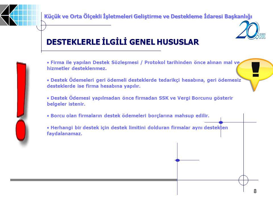 DESTEKLERLE İLGİLİ GENEL HUSUSLAR