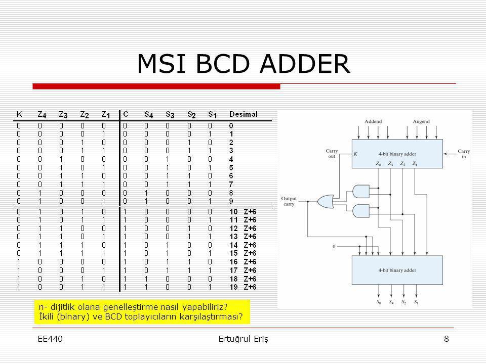 MSI BCD ADDER n- dijitlik olana genelleştirme nasıl yapabiliriz