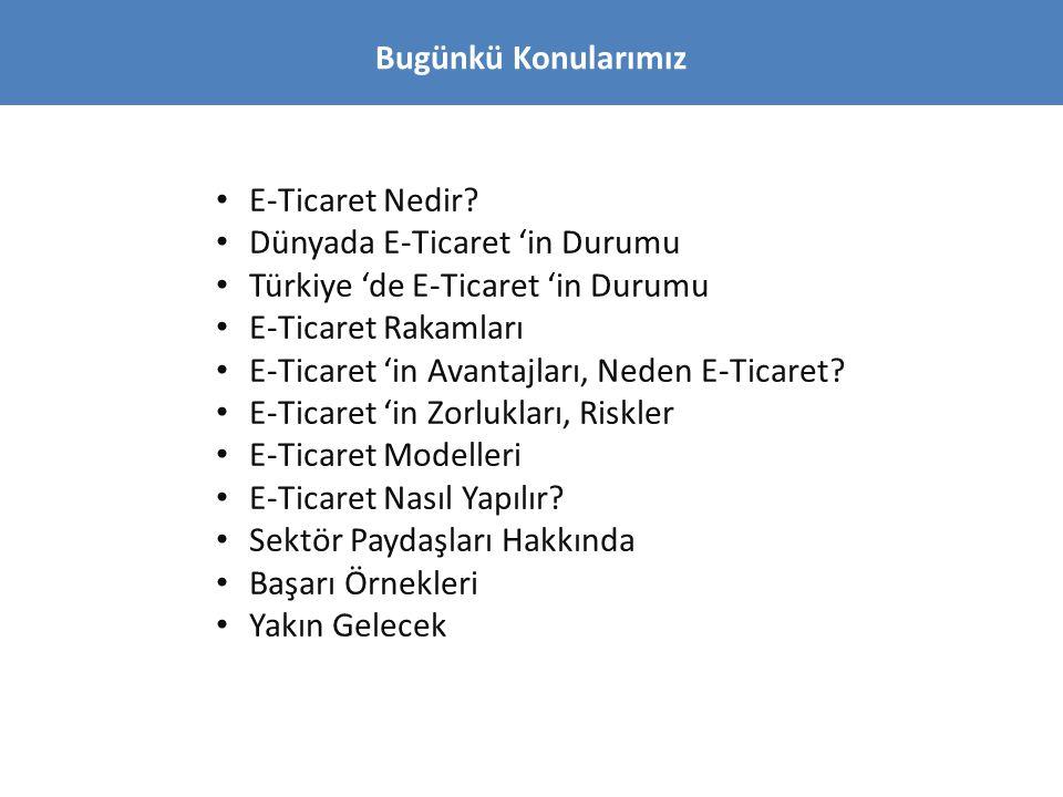 Bugünkü Konularımız E-Ticaret Nedir Dünyada E-Ticaret 'in Durumu. Türkiye 'de E-Ticaret 'in Durumu.