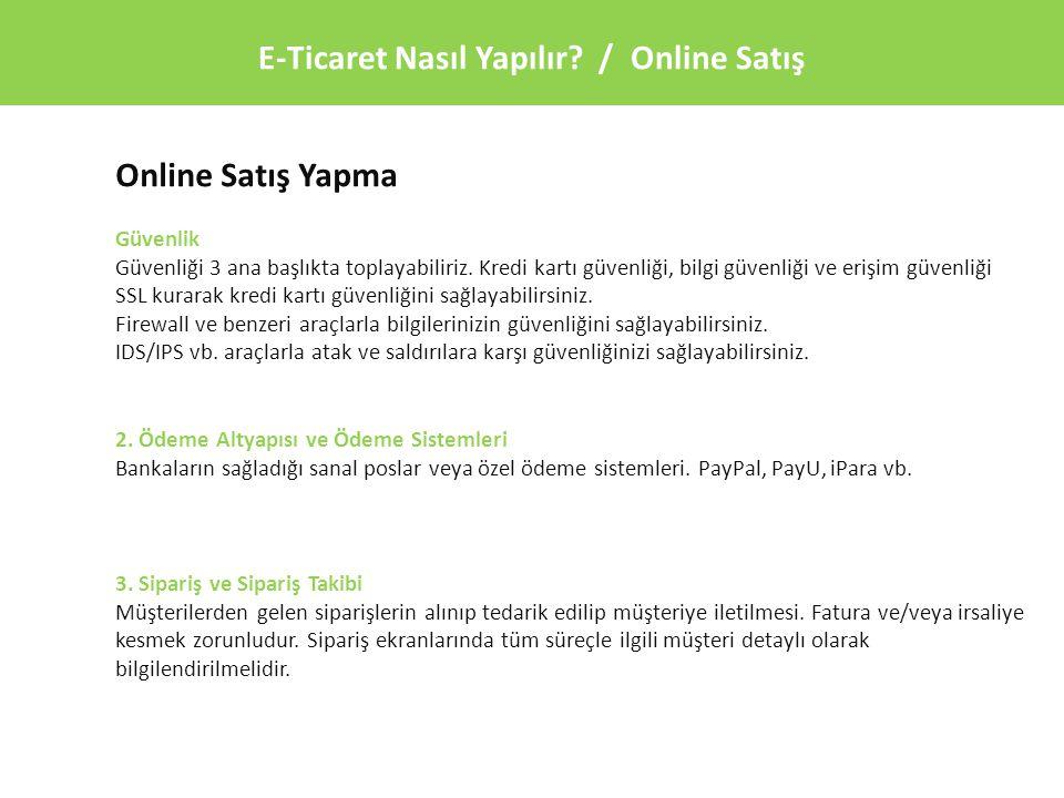 E-Ticaret Nasıl Yapılır / Online Satış